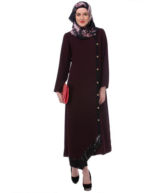 Purple Button-down Abaya