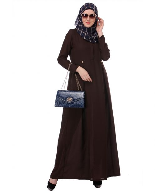 Flared Frock Style Brown Abaya