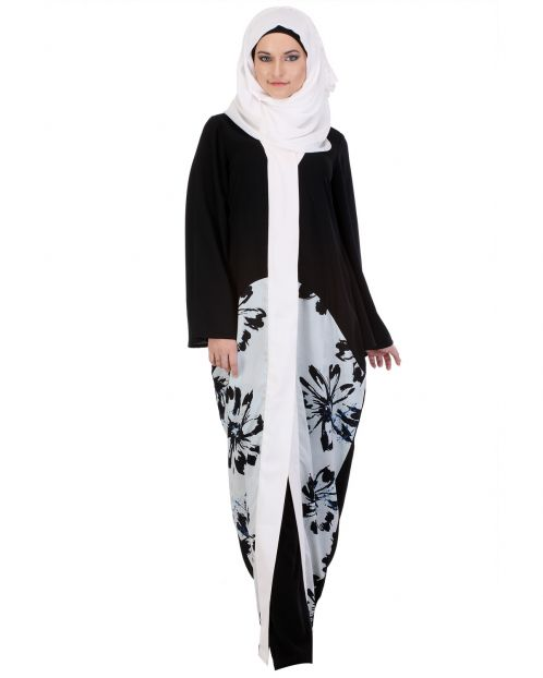 Floral Black & White Kimono Abaya