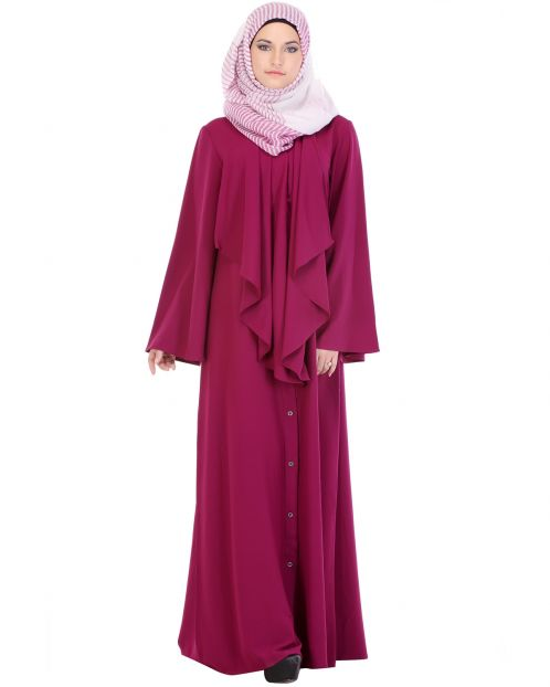 Flared Marsala Red Abaya
