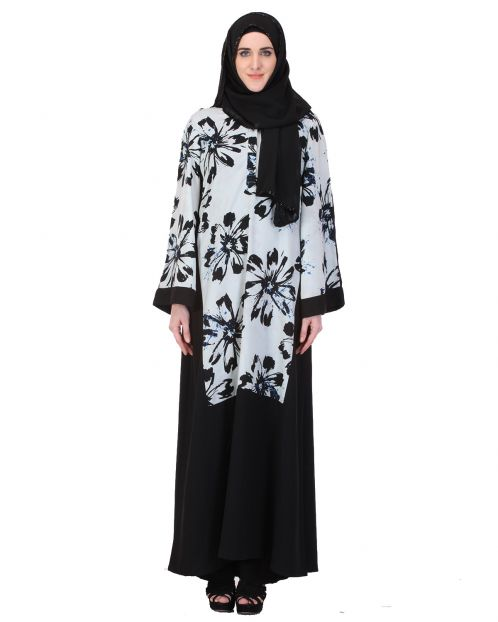 Floral Straight-cut Black & White Abaya