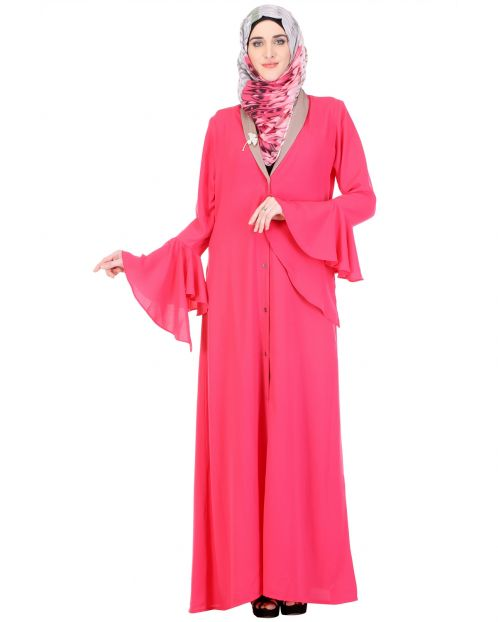 Pink Clown-sleeve lapelled Abaya
