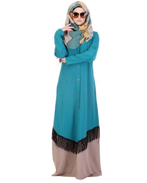 Teal & Beige Fringed Abaya