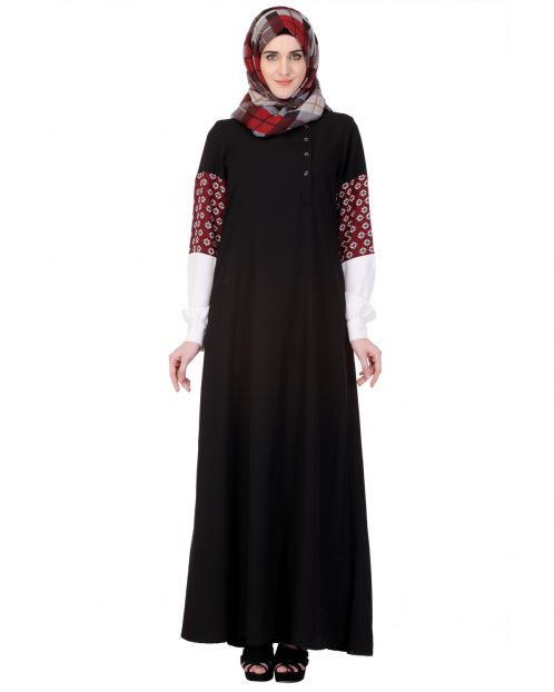 Tri-color Sleeve Black Abaya
