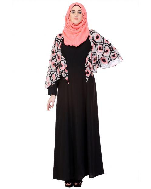 Print Caped Black Abaya