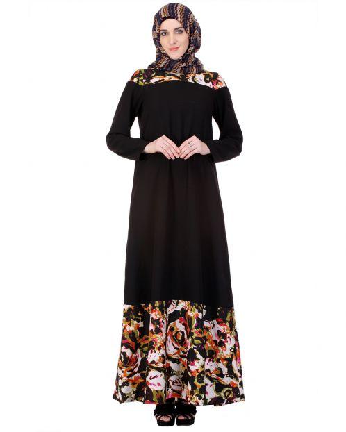 Vibrant Marble Print Panel Abaya