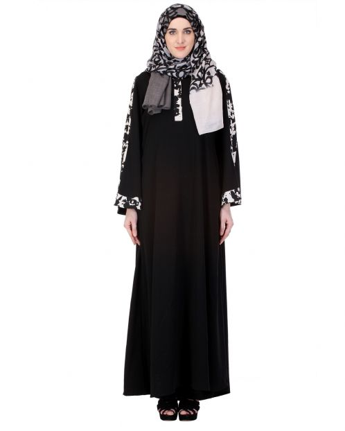 Basic Black Abaya with Printed White Trims