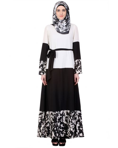 Iconic Black & White Abaya with Satin Belt