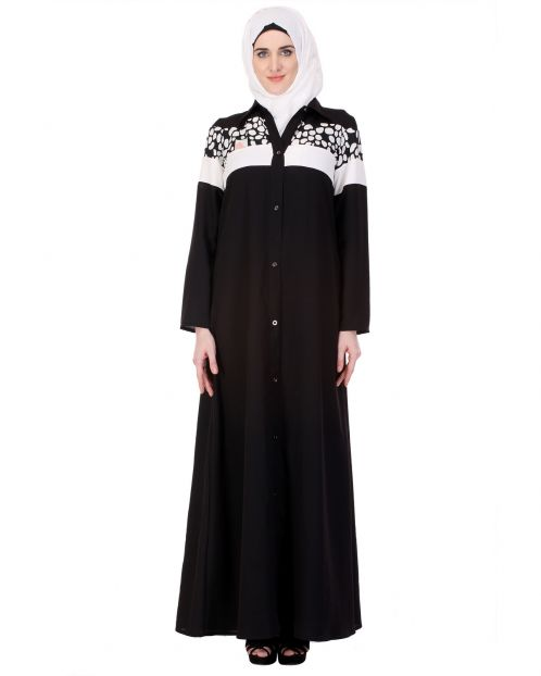 Printed Yoke Black & White Abaya