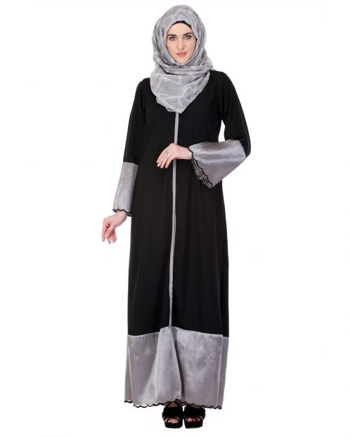 Black & Grey Tissue Casual Abaya
