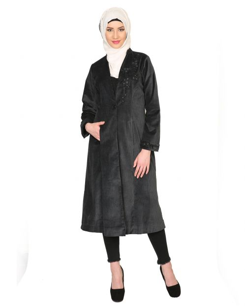 Black Velvet, Pearl Hand-Embroidery Coat Abaya