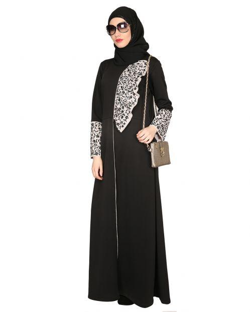 Black & Grey Thread Embroidered coat Abaya