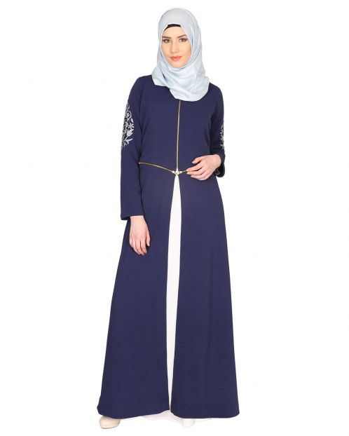 Blue Waffle Lycra Abaya With Embroidered Sleeves.