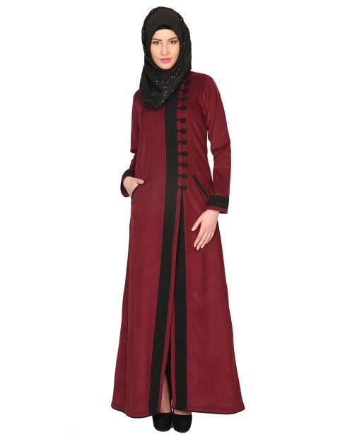 Maroon Velvet Corduroy Coat-style Abaya