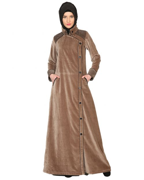 Oak-colored Velvet Coat-style Abaya