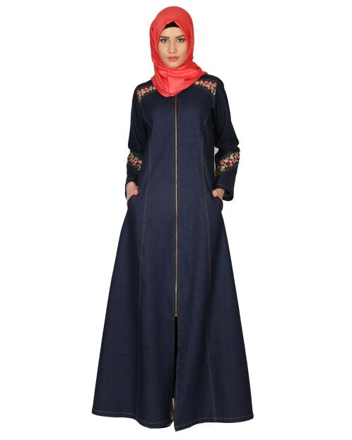 Denim Coat-abaya with pretty hand-embroidery