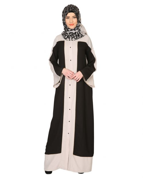 Black and Grey Abaya with Gold Detailing