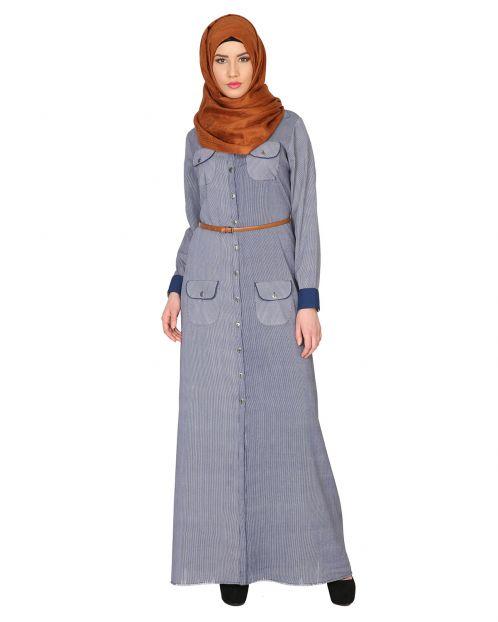 Shirt Style Abaya With Belt
