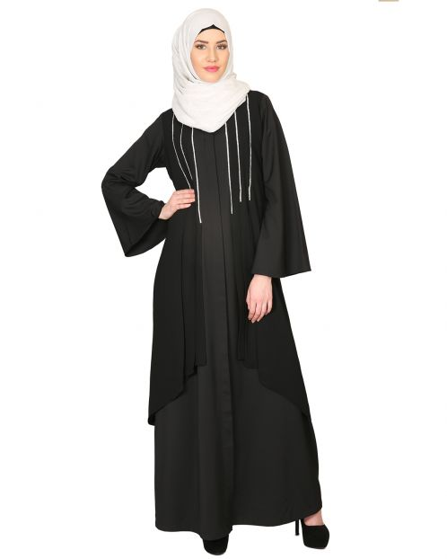 Double Layerd With Crystal Embellished Yoke Abaya