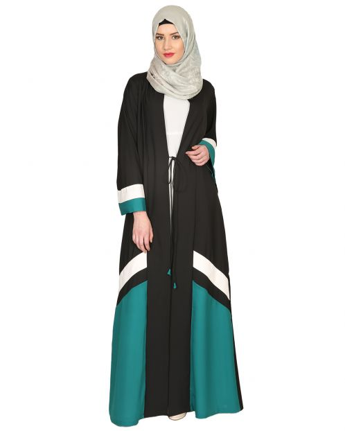 Black Green & White Open Abaya