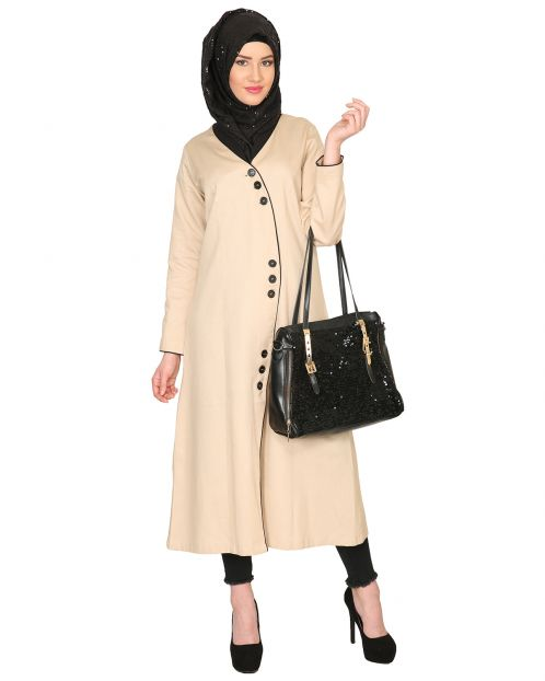 Mid-Calf Coat Style Abaya with Black Detailing
