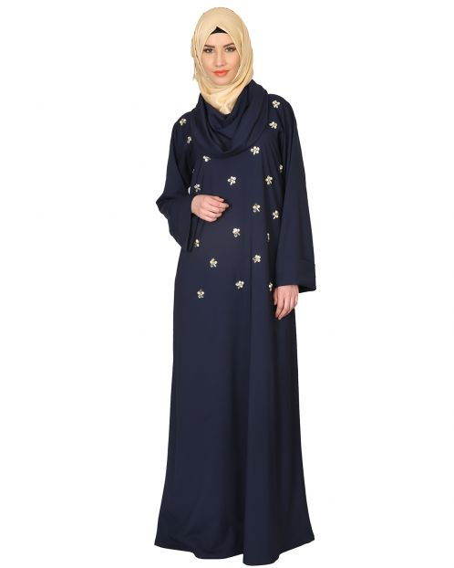 Cowl Neck And Elegant Crystal Hand Embroidered Abaya