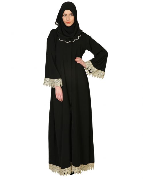 Classic Black Abaya With Gold Trimmings