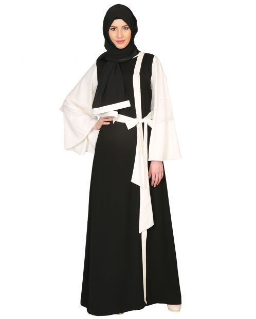 Double Layered Pearl Embellished Sleeves Abaya