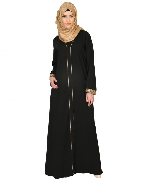 Black Abaya With Gold Sequins Trimming
