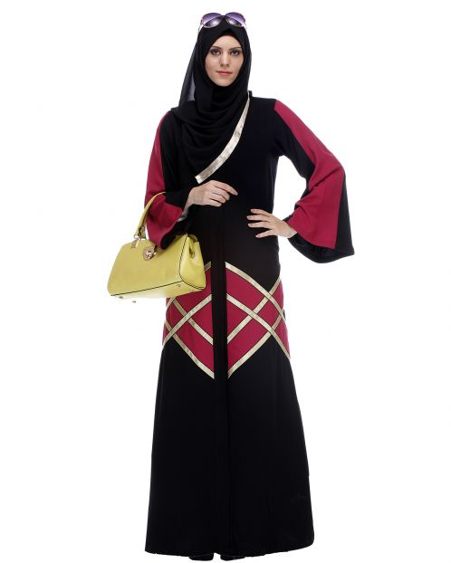 Black And Magenta Abaya