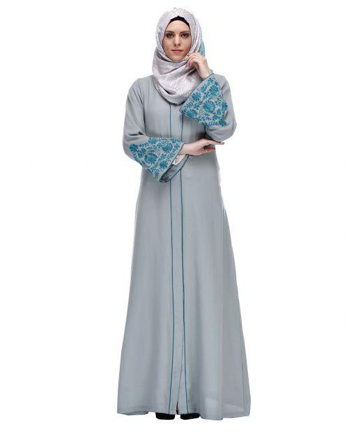 Sage Green Abaya With Thread Embroidery