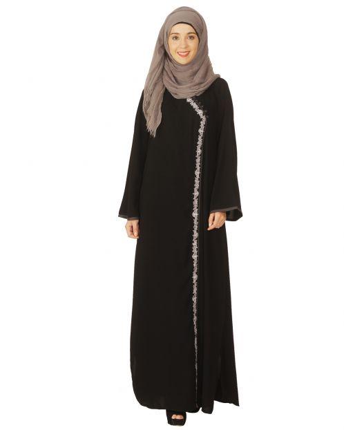 Black Abaya with Grey Thread Embroidery
