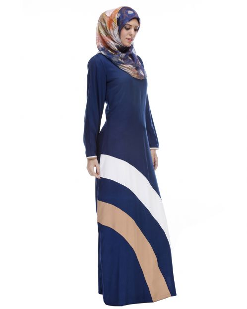 Blue Abaya With Multi Colour Diagonal Pattern