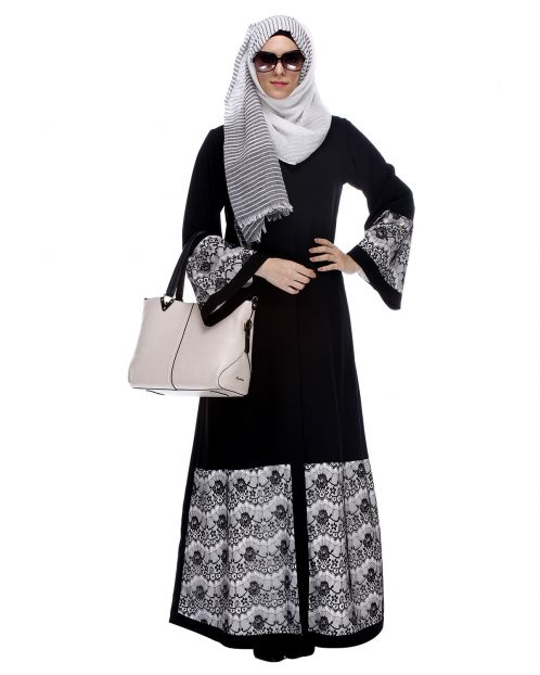 Black Abaya With Double Layer Laced Detailing