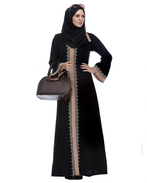 Black And Fawn Abaya With Gold Zari Embroidery