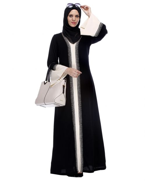 Black And Cream Abaya With Thread Embroidery