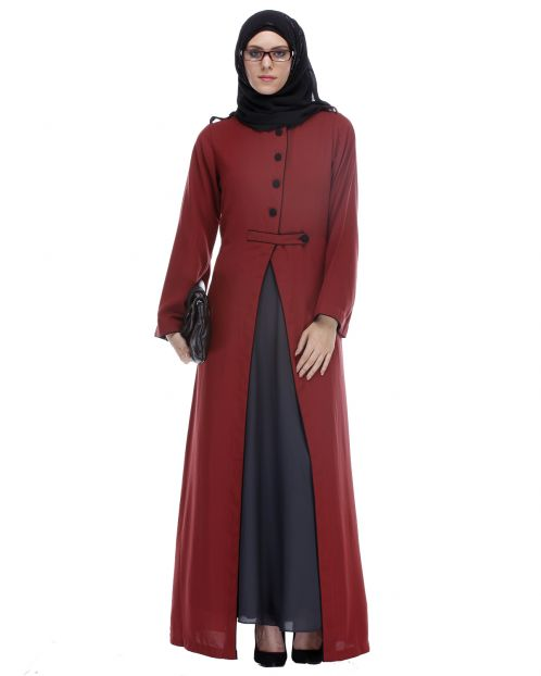 Maroon Abaya With Black Detailing