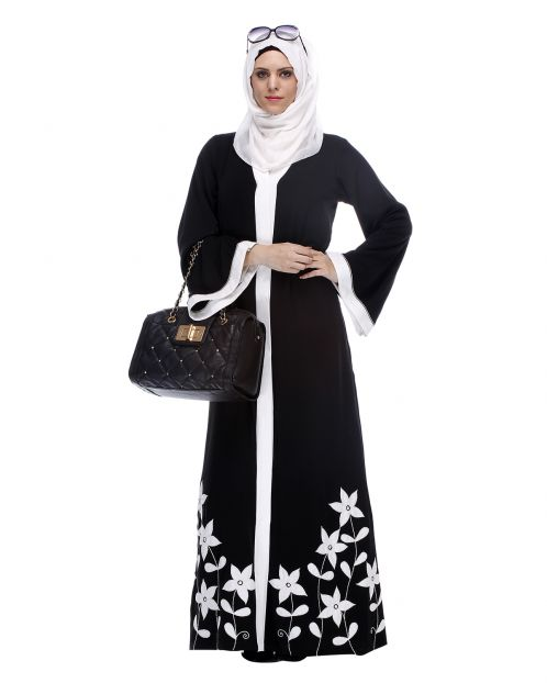 Black Abaya With Applique Embroidery