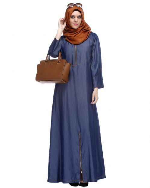 Dark Blue Denim Abaya