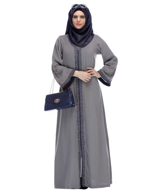 Grey Abaya With Embroidery