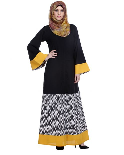 Black Abaya With Yellow Border
