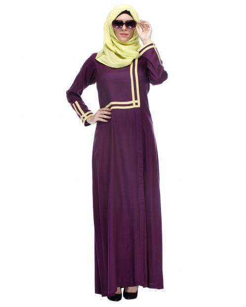 Purple Abaya With Yellow Detailing
