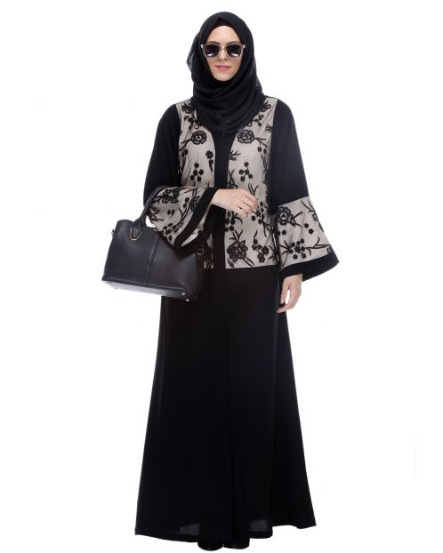 Black Abaya With Net Embroidered Sleeves
