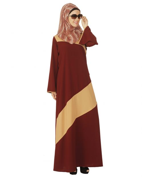Simple Maroon and Beige Abaya