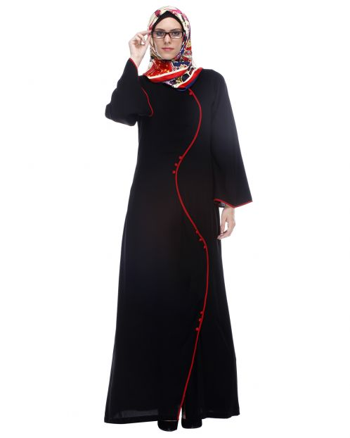 Black Abaya With Red Front Detail