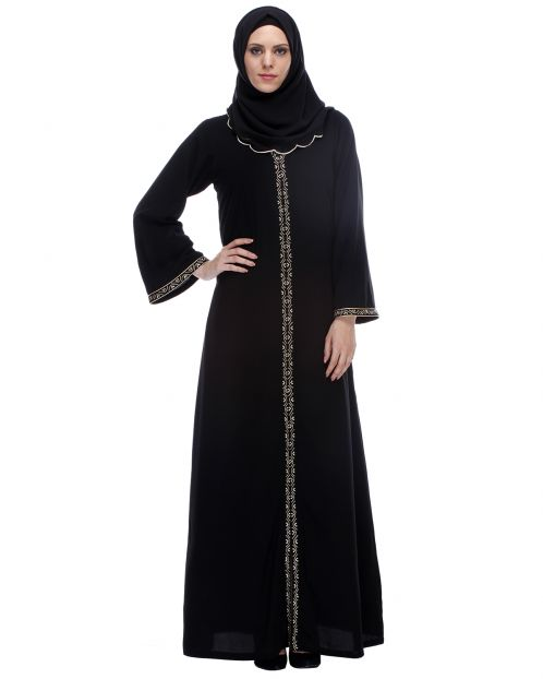 Classic Black Abaya With Golden Zari Embroidery