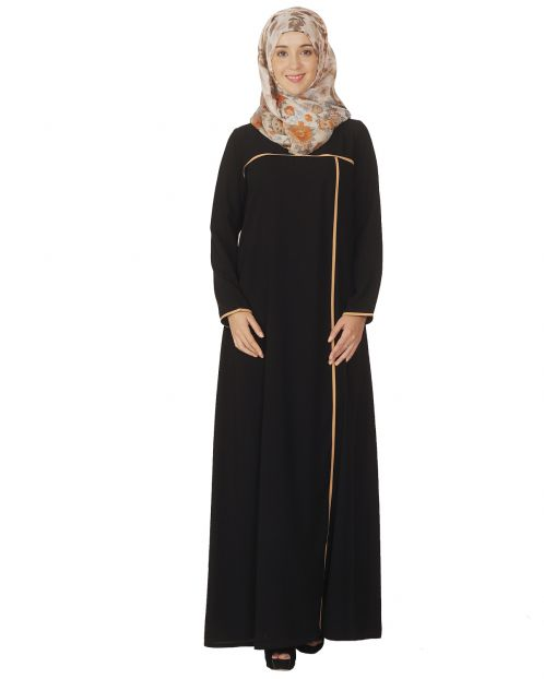 Classic Black Abaya with Beige Detailing