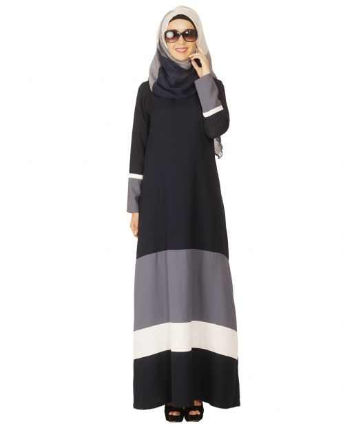 Colour Block Blue Abaya