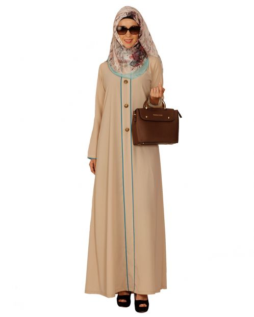 Sober Beige Abaya with Green Detailing