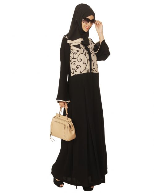 Black and Beige Box Pleated Embroidered Abaya